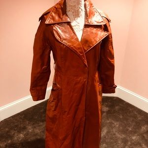 Awesome vintage cognac leather 70s coat